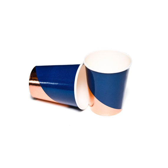 Navy Blue Rose Gold Party Cups Modern Colorblock Foil Etsy
