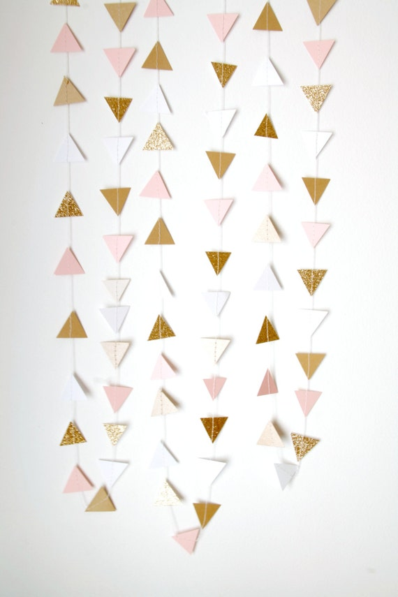 Gold Blush Pink And White Glitter Triangle Bunting Garland Gold