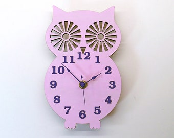 Wooden Owl Clock - light Pink Face with Purple Hands and Numbers
