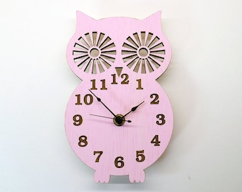 Wooden Owl Clock - light Pink Face with Black Hands and Brown Numbers
