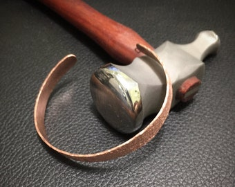 Thin Lightly Textured Copper Cuff (#5)
