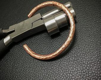solid copper wire textured cuff (#9)