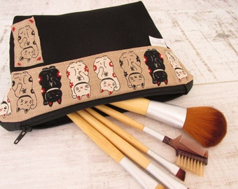 Lucky Cats Gift Idea, Make up bag gift for cat lovers,