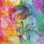CUSTOM Rainbow Portrait of 2 Kids or Kid and dog ************ Original Art rainbow drawing portrait kid portrait baby portrait dog portrait