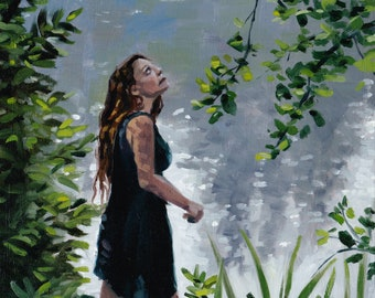 """Free Shipping Original Oil Painting """"At the Lake"""" by Harper Leich Painting, Art, Nature, Landscape, Figure Painting"""