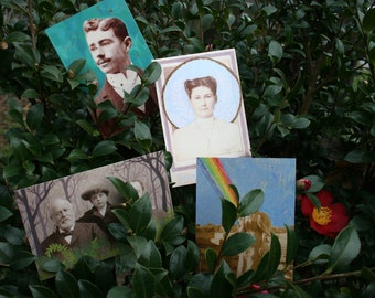 Set of 4 Postcards of Paintings on Antique Portraits by Harper Leich
