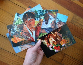 Set of 9 Postcards of Oil Paintings by Harper Leich
