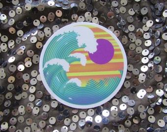 Waves - circular vinyl sticker