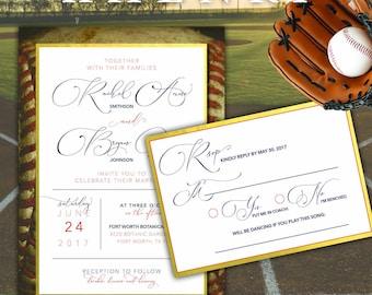 Chic Baseball Wedding Invitation