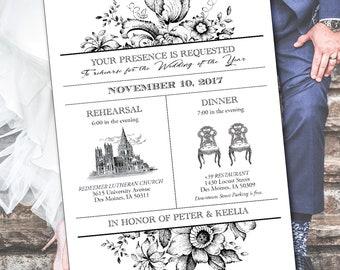 Vintage Wedding Rehearsal - Invitation - DIY - printable - rustic - classic - simple