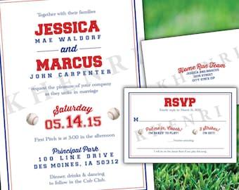 Baseball Collegiate Wedding Invitations - digital - printable