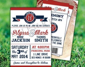 Baseball Wedding Invitations - printable - baseball cards - Baseball ticket