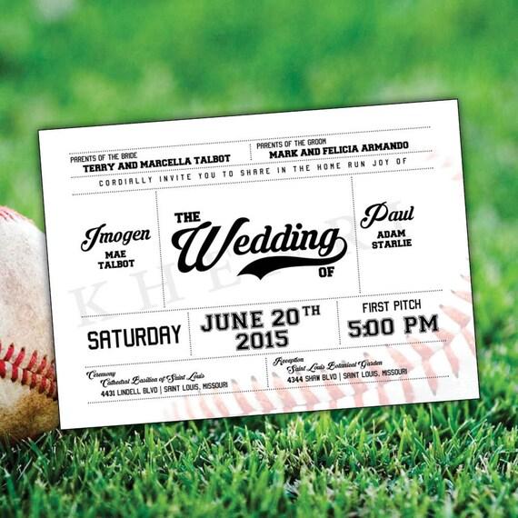 Baseball Wedding Invitations Card Ticket