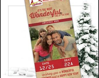 Baseball Ticket - Christmas Card - DIY - printable - digital - Baseball Christmas - Christmas Photo card