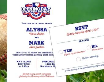 Opening Day - Baseball Wedding Invitation - Baseball Card - Baseball Ticket DIY