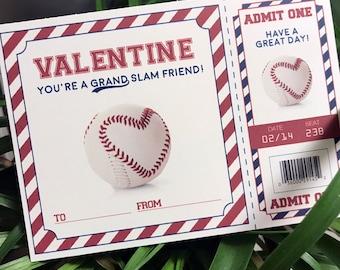 Baseball Valentine Digital File - Print-at-home - Baseball Ticket Valentine - DIY