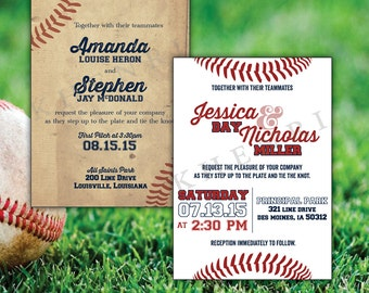 Baseball Stitches Wedding Invitations - digital file - printable - baseball cards