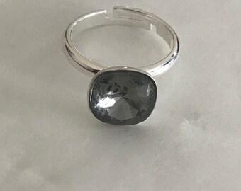 Smoky Grey Swarovski Crystal Ring