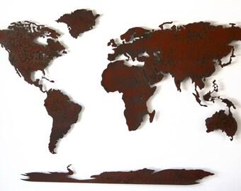 World Map Metal Wall Art Wide X Tall Etsy - 36 x 48 world map
