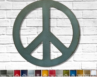 """Peace Symbol - Metal Wal Art Home Decor - Choose your Size 12"""", 17"""", 24"""", 30"""" or 36"""" Choose your Patina Color!"""