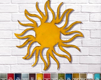 """Sun - Metal Wall Art Home Decor - Choose 8"""", 11"""", 17"""" or 23"""" wide, Choose your Patina Color with rust accents - Homemade"""