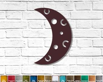 """Crescent Moon - Metal Wall Art Home Decor Handmade - Choose your Size 8"""", 11"""", 17"""" or 23"""" tall - Choose your Patina Color - Bedroom Hanging"""