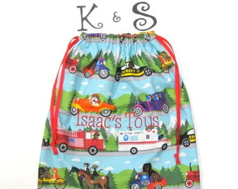 Drawstring Bag/Cars,Trucks,Vehicles With Dogs, Cats, Horses/Unique/Toys/Book/Ring Bearer/Birthday/Christmas/Childs Bag/Toy Bag/Novelty Bag