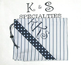 Laundry BagBright Blue Striped FabricPersonalizedGift:Graduation Day Wedding Party Dorm CollegeLife,DirtyClothesBag Air Car Travel