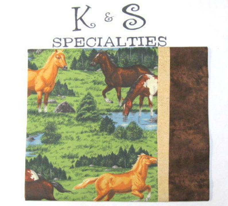 Pillowcase With Horses In A Green PastureMonogrammed On A Brown CuffGift:Birthday,Sleep Overs,Christmas BoyGirl Gift AirCar Trips