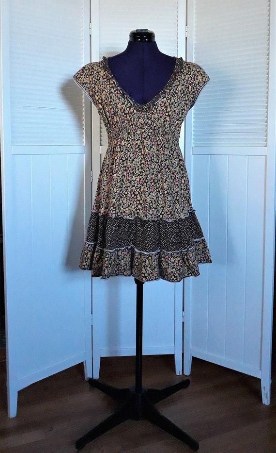 Mini Dress Long Peasant Top Junior Size L Brown Yellow Floral Print Ruffles Polka Dots