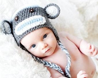 55401d2ec83 IN STOCK Newborn Sock Monkey Hat