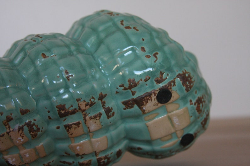 Vintage Ceramic Pottery Turquoise Conch Shell Planter.