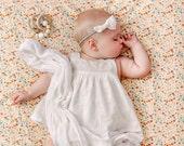 Floral crib sheet- baby girl nursery - peach baby crib sheet - vintage feel crib sheet - baby bedding  - white crib sheet