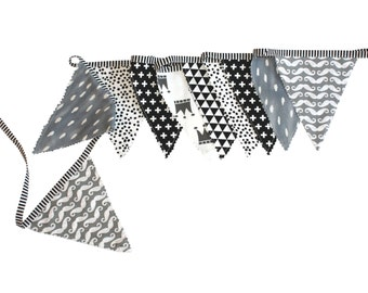 Fabric banner BLACK and WHITE, Fabric Bunting, Fabric Garland, Nursery Decor, photography prop, black and white nursery, wall banner
