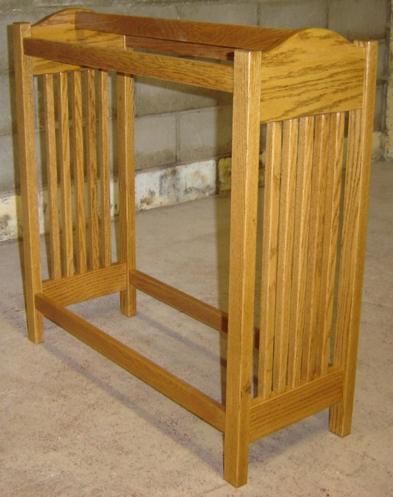 Hand Crafted Custom Made NEW Solid Red Oak Wood Mission Style Etsy New Free Standing Quilt Display Rack