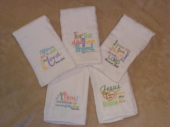 Bible Verses Burp Cloth or Bib SINGLES - Set 1