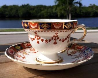 Rosina Tea Cup and Saucer, English Bone China Footed Teacup 13820