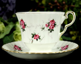 Hammersley Teacup, Tea Cup and Saucer, Vintage Cups, English China, Pink Roses Cup 12874