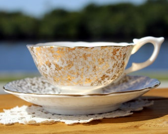 Cup and Saucer, Stunning Cabinet Teacup -  Chintz Gilt Filigree - High Handled Wide Mouthed 13000