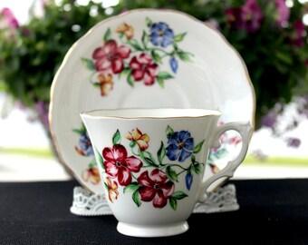 Colclough Tea Cup and Saucer, English Bone China Teacup, Mixed Florals 12964