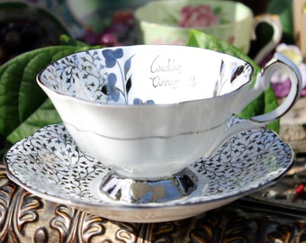 Queen Anne Cabinet Teacup and Saucer - Wedding Anniversary - Vintage Bone China 13845