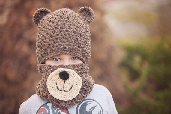 Teddy Bear Hat And Cowl Pattern Crochet Hat Patterns Hat Etsy