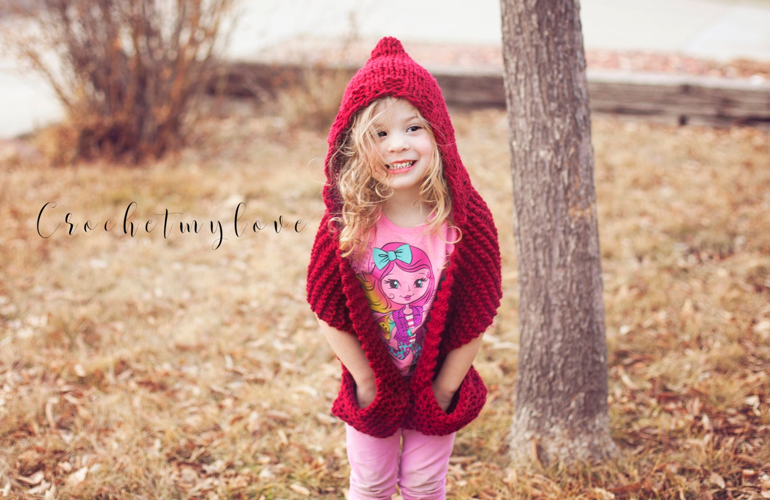 Hooded scarf knitting pattern, scarf with pockets pattern, knitting ...