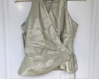 Women's vintage 90's sea foam green shimmer iridescent wrap halter top by Bill Levkoff size 8 (new size 4)