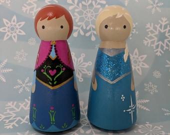 Frozen Elsa and Anna Peg Dolls Set of 2,