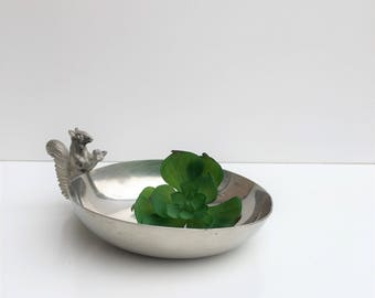 silver plated dish with pewter squirrel