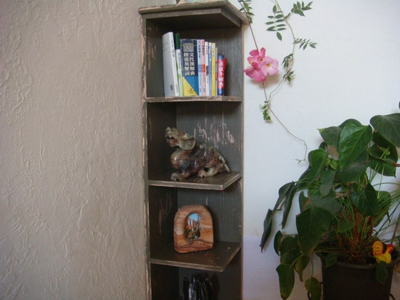 60 In Tall Distressed Corner Shelf Bookcase Display Shabby