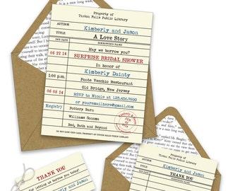 Library Card Bridal Shower Invitations