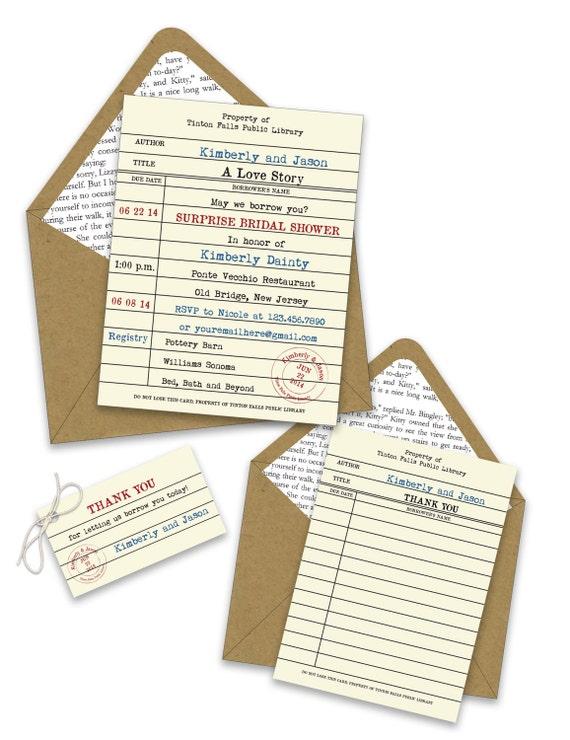 Library Card Bridal Shower Invitations Etsy