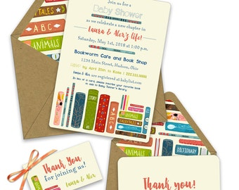 Little Library Baby Shower Invitations